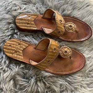 Jack Rogers Taupe Beige Croc Embossed Sandals 7